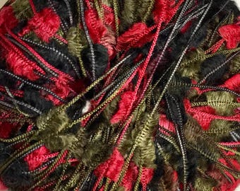 PlymouthYarn, Paradise, Eyelash yarn in Red, Black and green, 1 ball