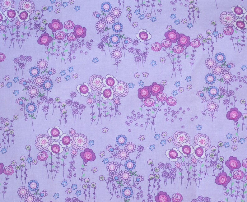 Rare Northern Europe Field of Flowers on a Purple Background 14 Yard