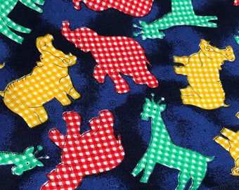 Gingham Elephants, Giraffes and Hippos Fabric, Chelsea Collection by Rose and Hubble