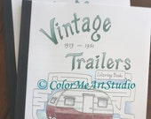 On Sale, RV Trailers Coloring Book, Vintage Camping Coloring Book, Travel Trailer Coloring Book, Glamper Trailer Coloring, Art Therapy