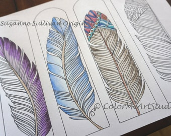 DIY Feather Bookmarks Color It To Feathers Adult Coloring Page Youth