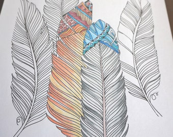 Feathers Coloring Page, Printable Download, Hand Drawn Coloring Page, Adult Coloring Page, 1 PDF File, Color It Yourself, Coloring Page