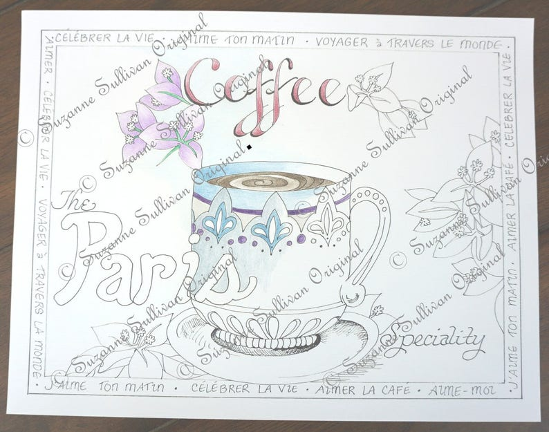 Adult Coloring Pages Coffee Cup Coloring Page Coloring Etsy
