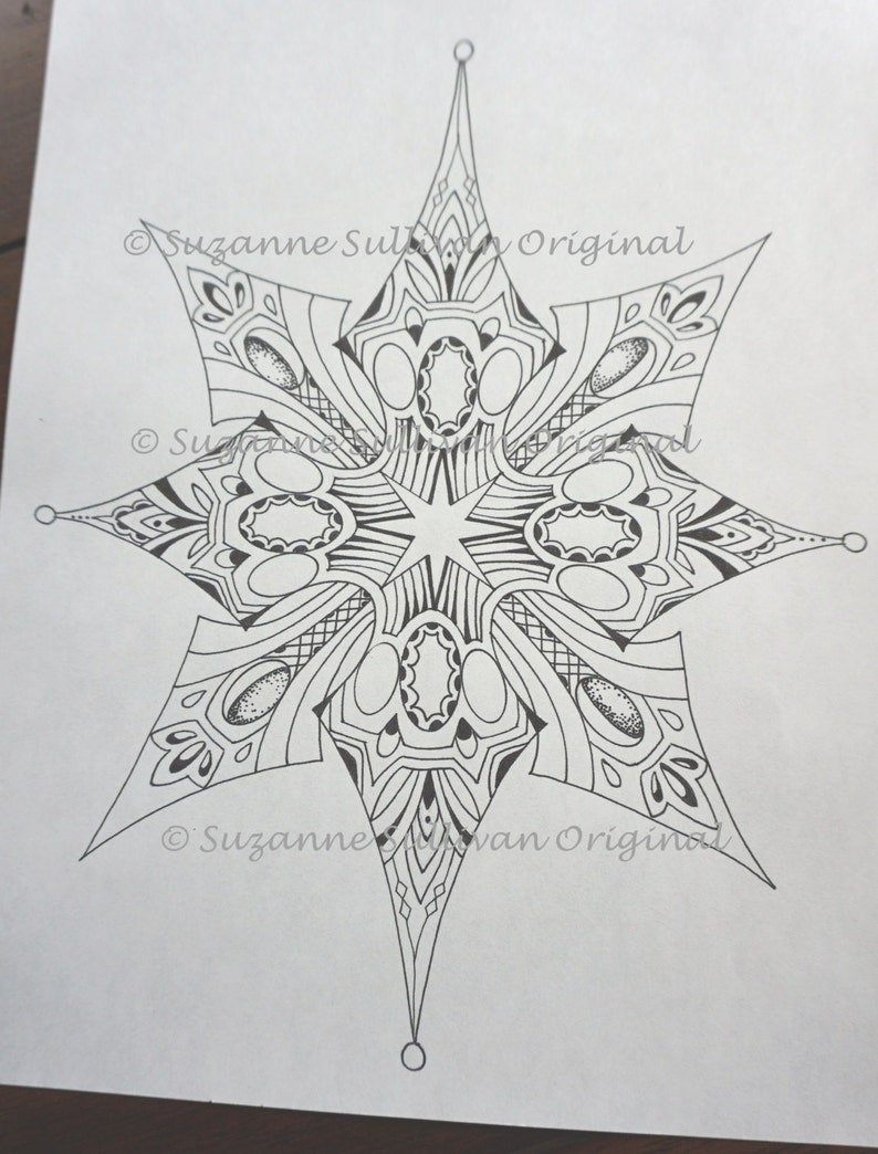 Snowflake Coloring Page Adult Coloring Page Coloring Book Etsy