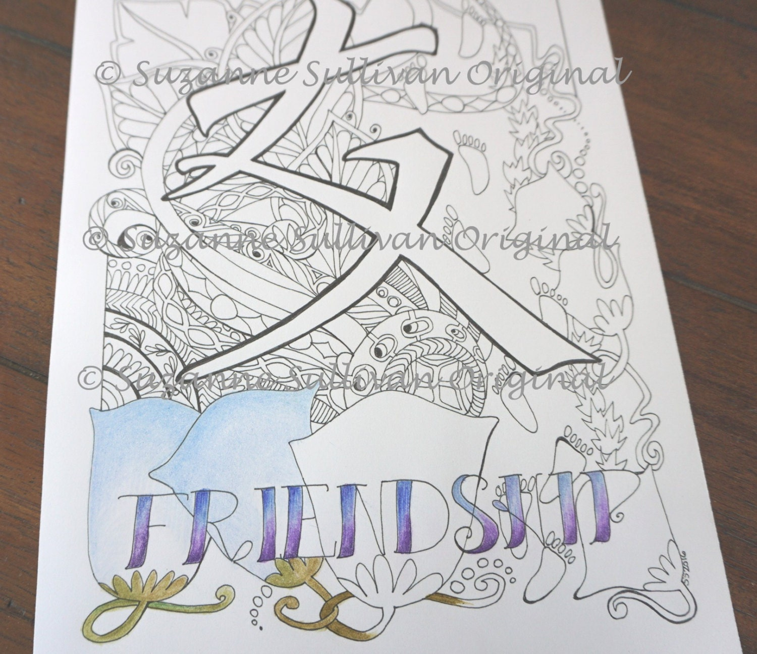 Japanese Kanji Coloring Page Friendship Coloring Page Adult Etsy