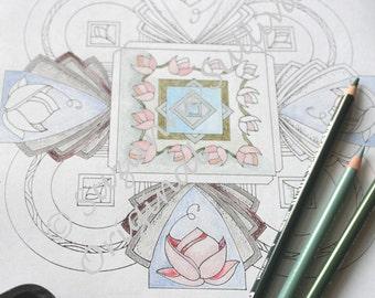 Mandalas Coloring Pages, Set of 5 Coloring Book Pages, Adult Coloring Pages, Adult Relaxation, Printable Art, Printable Coloring Pages