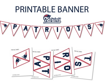 Patriots Banner, Patriots Party Decor, Patriots Printable Banner, Patriots Super Bowl Party, Patriots Super Bowl Printable Super Bowl Banner