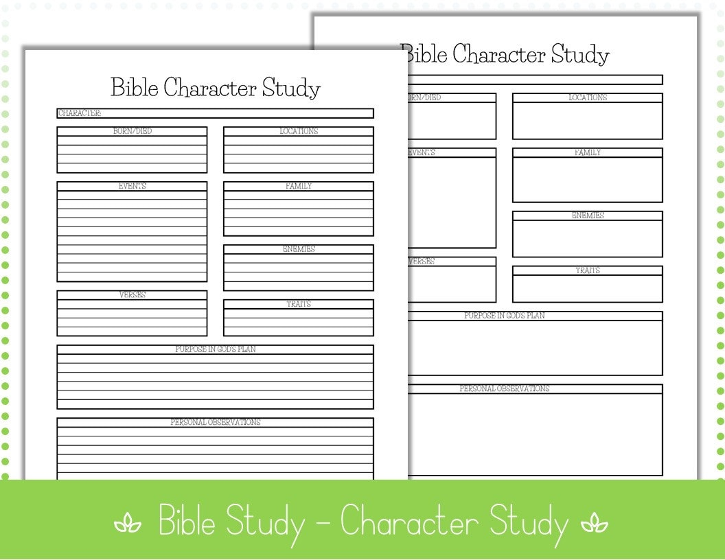 """Bible Study - Character Study – 8 5"""" x 11"""" – Editable - PDF Printables – 2  Printables – Lined & Unlined - INSTANT Downlo"""