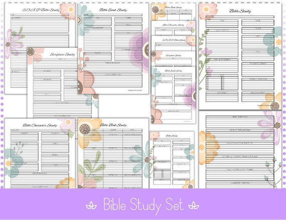 picture about Free Printable Bible Study Guides titled Bible Examine Publications 6 Research Textbooks - Inductive - 8.5\u201d x 11\u201d Editable - F - PDF Printable Information Flower Backyard garden - Quick Obtain