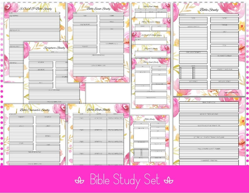 picture relating to Free Printable Bible Study Guides known as Bible Investigate Textbooks 6 Analyze Books - Inductive - 8.5\u201d x 11\u201d Editable - PDF Printable Data files Watercolor Bouquets - Quick Down load