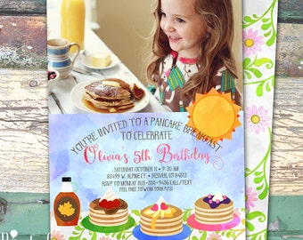 Photo Pancake Breakfast Watercolor Personalized Birthday Printable Invitation Print at Home