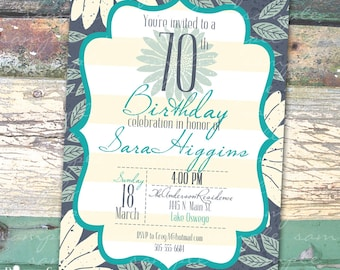Blue Floral Personalized Birthday  Printable Invitation Print at Home