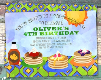 Pancake Breakfast Boys Watercolor Personalized Birthday Printable Invitation Print at Home