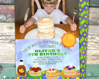 Photos Pancake Breakfast Boys Watercolor Personalized Birthday Printable Invitation Print at Home