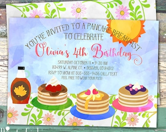 Pancake Breakfast Watercolor Personalized Birthday Printable Invitation Print at Home