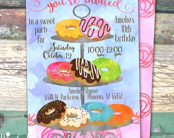 Donuts Watercolor Personalized Birthday Printable Invitation Print at Home