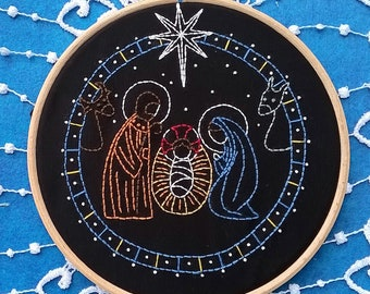 "Christmas Embroidery Kit - Beginner Embroidery kit - christian embroidery hoop art - ""Nativity scene"" - christmas needlepoint kits"