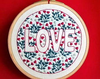 Embroidery kit - Embroidery pattern - embroidery hoop art - diy embroidery kit modern embroidery - Love - valentine's day - beginner kit