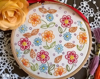 "Flowers Embroidery KIT - Embroidery pattern - embroidery hoop art - ""joyful flower"" - beginner embroidery kit - hand embroidery kit"