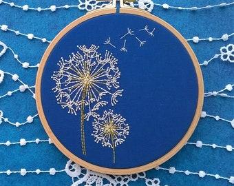 Beginner Embroidery KIT -  hand embroidery kit - DIY embroidery Kit - modern embroidery hoop -  beginner craft kit - dandelion