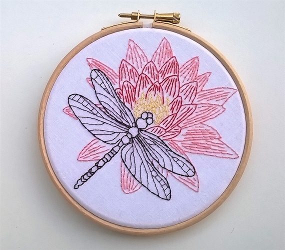 Dragonfly Embroidery Kit Hand Embroidery Kit Embroidery Etsy