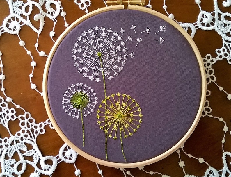 Dandelion Embroidery Kit Hand Embroidery Pattern Diy Hoop Etsy