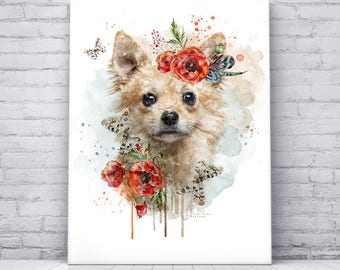 Digital Art Print on Canvas, Chihuahua, Dog Portrait