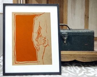 A Bit Too Saucy BJ NAUGHTY Art Work Poster Wall Art Printing Illustration Print Graphic Design EroticArt Softporn Gay