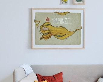 Original STORYTALES Rapunzel Wall Art Printing Poster Illustration Print Drawings Graphic Design Art Work Home Decor