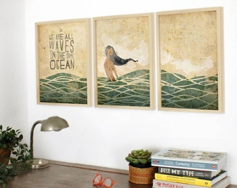 Original Portuguese We Are All Waves in the same Ocean Wall Art Printing