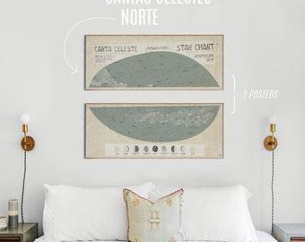 Original STAR CHART Mapa Celeste STARS Estrelas Art Printing Poster Illustration Print Graphic Design Art Work Home Decor