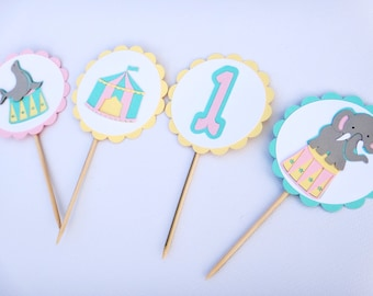 Carnival Cupcake Toppers , Circus Cupcake Toppers, Circus Party, Carnival Birthday Decorations, Pastel Circus, Pastel Carnival Decoration