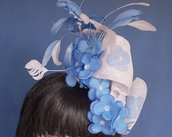 Blue & White Sinamay, Flower, Feather and Pearl Fascinator