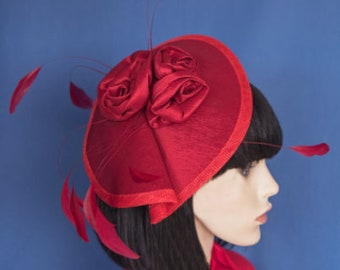 Red Sinamay & Taffeta Fascinator with taffeta roses and feathers