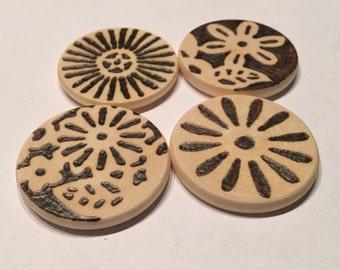 Wood Burned Magnets: Vintage Bohemian Flowers