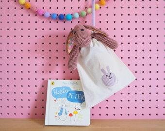 Crochet Rabbit Kit - Rhubarb the Rabbit - Brown - A Cute Amigurumi Toy Rabbit Kit with Liberty Fabric Contrast