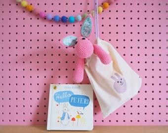 Crochet Rabbit Kit - Rhubarb the Rabbit - Pink - A Cute Amigurumi Toy Rabbit Kit with Liberty Fabric Contrast