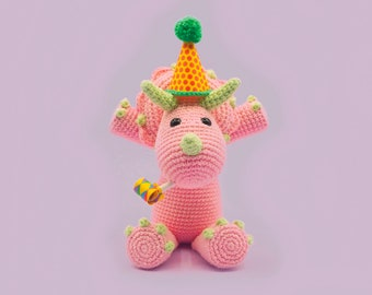 Crochet Dinosaur Pattern - Tiny the Triceratops - A Cute Amigurumi Pattern by The Clumsy Unicorn