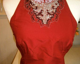 Crimson Red Silk Embellished Halter Top