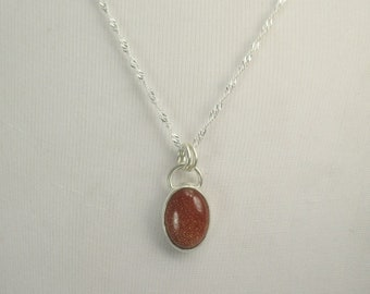 Goldstone Pendant Necklace with 18 inch Sterling Silver Chain