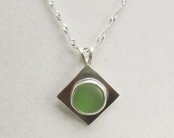 Green Seaglass Pendant Necklace with 18 inch Sterling Silver Chain