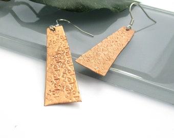 Stamped Copper Earrings, Stainless Steel Earwires