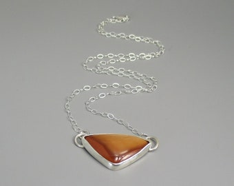 Jasper Gemstone Pendant Necklace with 18 inch Sterling Silver Chain