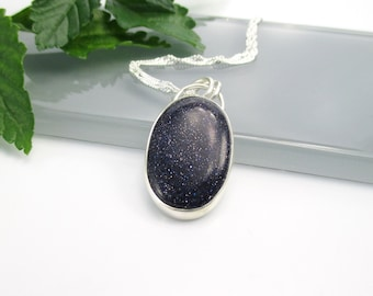 Blue Goldstone Pendant Necklace with 18 inch Sterling Silver Chain