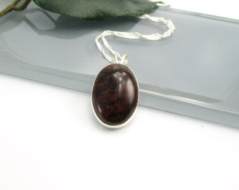 Mahogany Obsidian Pendant Necklace with Sterling Silver 20 inch Chain