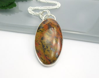 Tiger Tail Gemstone Pendant Necklace with 18 inch Sterling silver Chain