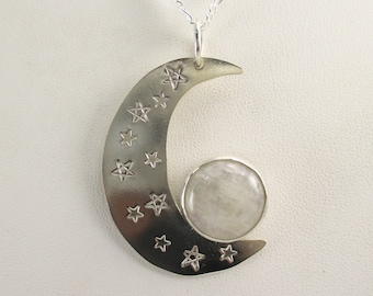 Crescent Moon, Sterling Silver with Moonstone