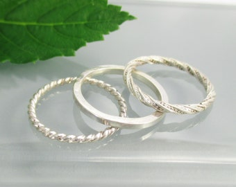 Stacking Ring Set, Sterling Silver, Size 6