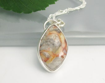 Crazy Lace Agate Gemstone Pendant with 18 inch Sterling Silver Chain