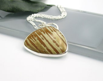 """Unique Jasper Gemstone Necklace with 18"""" Sterling Silver Chain"""